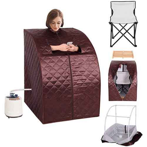 9. Giantex Portable 2L Steam Sauna Spa Full Body Slimming Loss Weight Detox Therapy w/Chair (Coffee)