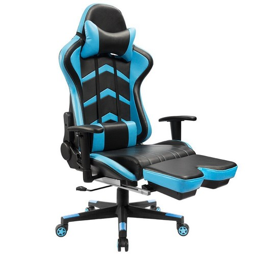 6. Furmax Gaming Chair High Back Racing Chair, Ergonomic Swivel Computer Chair Executive Leather Desk Chair With Footrest, Bucket Seat and Lumbar Support (Blue)