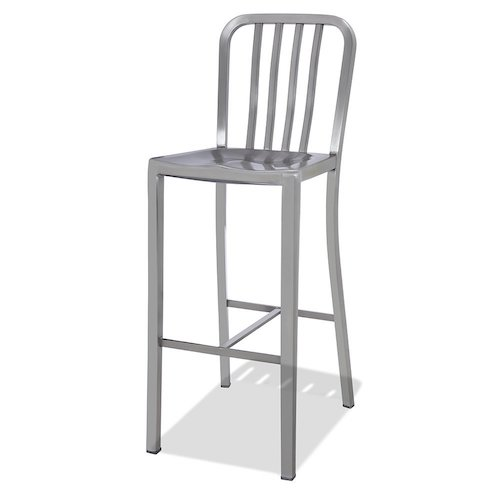 2. CHAIR DEPOTS Kupa Stainless Steel Bar Stool