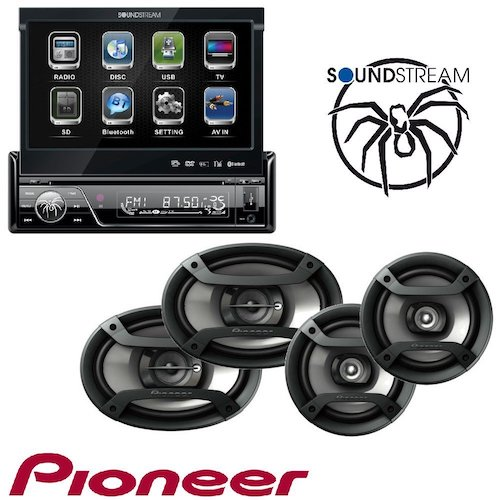 8. Soundstream VIR-7830B 1 DIN DVD/CD/MP3 Player Flip-Out Up Screen Bluetooth W Pioneer TS-165P + TS-695P Two Pairs 200W 6.5