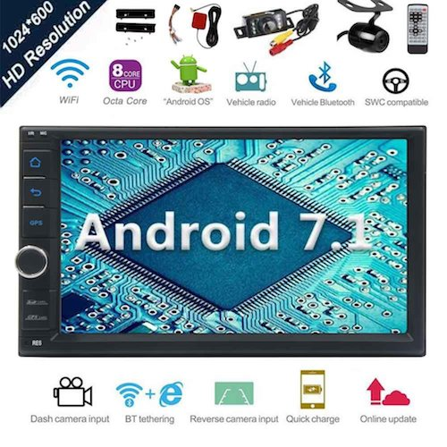 5. Android 7.1 32GB 2GB Car Stereo Radio with Octa Core Bluetooth GPS Navigation Support Fastboot WiFi MirrorLink USB SD Backup Front Camera 7¡± 1024600 Capacitive Touchscreen Double Din + FREE Dual Cam