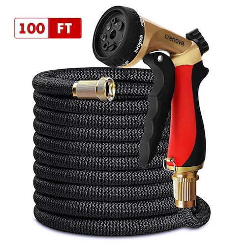 5. Crenova 100ft garden hose Expandable Hose with Double Latex Core, Solid Brass Connector, Expanding Garden Hose with 7 function metal spray nozzle