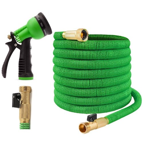 3. Expandable Garden Hose - 75 Feet Green - Extra Strong Stretch Material with Brass Connectors - Bonus 8 Way Spray Nozzle, Carrying Bag and Hanger - by Joeys Garden