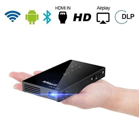 7. PTVDISPLAY Smart Pocket Mini Projector, 1080P WIFI Home Theater Pico Rechargeable Video DLP Projector Support Bluetooth HDMI USB TF Card for Home Cinema, Wireless Display for iPhone and Android Phone