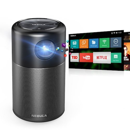 10. Nebula Capsule Smart Pico Projector, by Anker, Portable 100 ANSI lm High-Contrast Pocket Cinema with Wi-Fi, DLP, 360° Speaker, 100