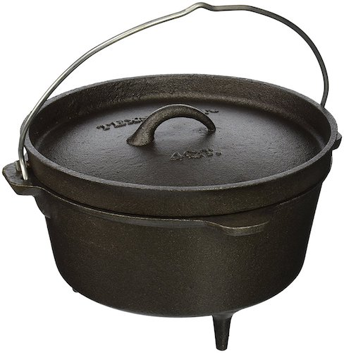6. Texsport Cast Iron Dutch Oven with Legs, Lid, Dual Handles and Easy Lift Wire Handle.
