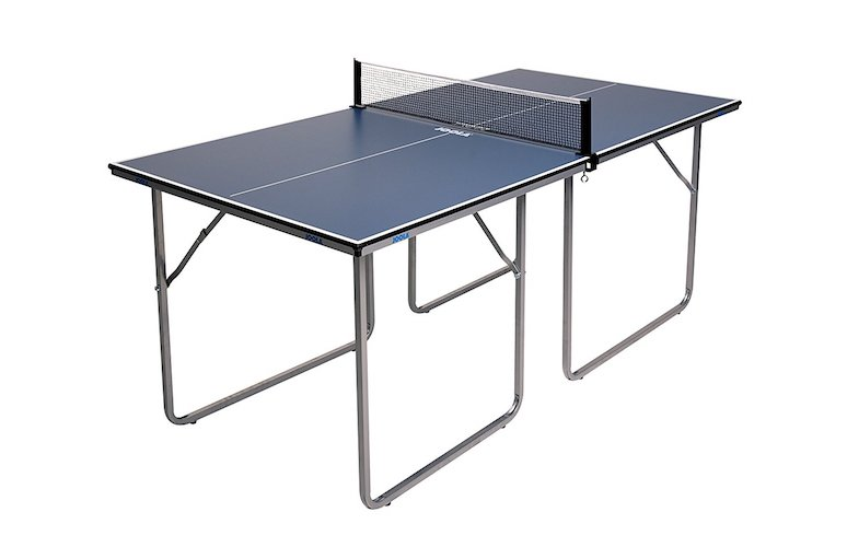 1. JOOLA Midsize Compact Table Tennis Table Great for Small Spaces and Apartments – Multi-Use Free Standing Table - Compact Storage Fits in Most Closets - Net Set Included - No Assembly Required!