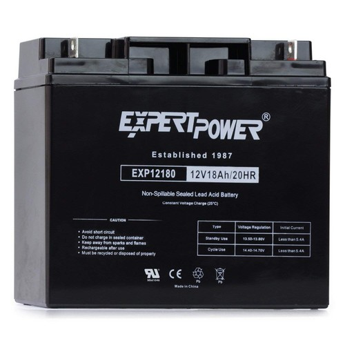 10. ExpertPower EXP12180 12 Volt 18 Ah Rechargeable Battery with Nuts and Bolts