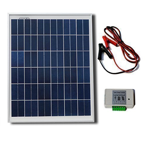 6. ECO-WORTHY 20W 12V Solar Panel Kit: 20 Watt Polycrystalline Solar Panel & Battery Clips & 3A Charge Controller