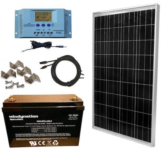 10. WindyNation 100 Watt Solar Panel Complete Off-Grid RV Boat Kit with P30L LCD PWM Charge Controller, Solar Cable, MC4 Connectors, Mounting Brackets + 100Ah AGM Deep Cycle Battery
