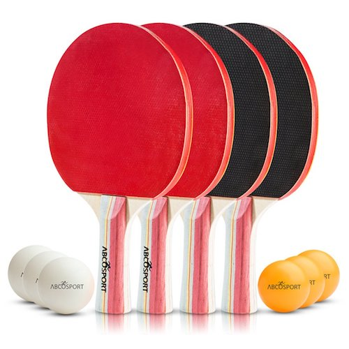 1. Table Tennis Ping Pong Set - Pack of 4 Premium Paddles/Rackets and 6 Table Tennis Balls - Soft Sponge Rubber - Ideal for Professional & Recreational Games - 2 or 4 Players - Perfect Set On The Go