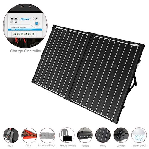 5. ACOPOWER 100W Foldable Solar Panel Kit, 12V Battery and Generator Ready Suitcase with Charge Controller