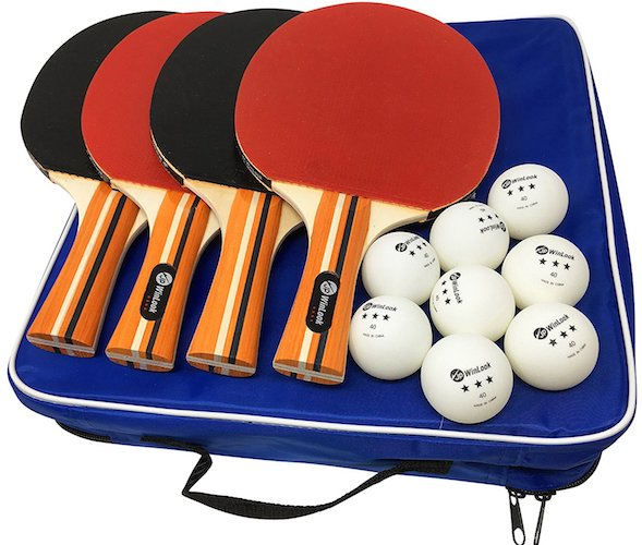 4. JP WinLook Ping Pong Paddle - 4 Pack Pro Premium Table Tennis Racket Set, 8 Balls, Professional/Recreational Game Racquet, Practice Training Bat, Accessories Bundle Portable Kit Cover Case Bag