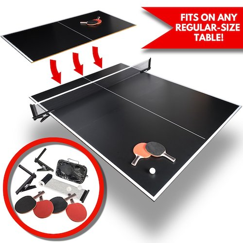 7. Convertible Table Tennis Top | Full Size | Tri-Folding Portable Ping Pong Conversion Set | Includes Balls, 4x Racket and Net | Foldable Tops for Pool Tables