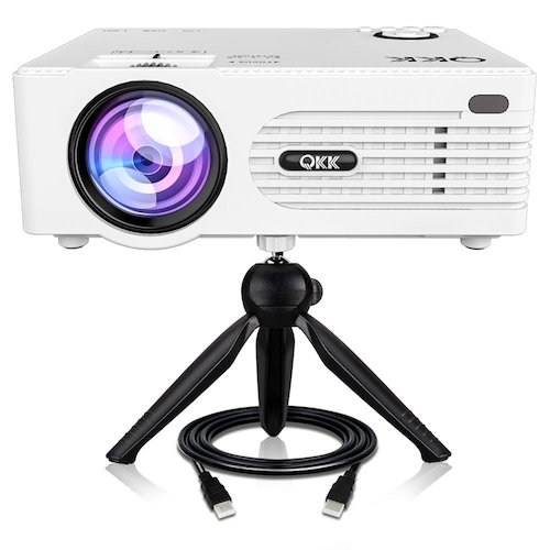 1. QKK 2200lumen Mini Projector - Full HD LED Video Projector 1080P Supported, 50,000 Hour Lamp Life with 170¡± Big Display for Home Theater Entertainment, HDMI,TV,SD Card,AV,VGA,USB x2,iPhone,iPad,PS4