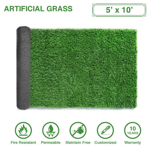 6. LITA Premium Artificial Grass 5' x 10' (50 Square Feet) Realistic Fake Grass Deluxe Turf Synthetic Turf Thick Lawn Pet Turf -Perfect for indoor/outdoor Landscape - Customized Sizes Available