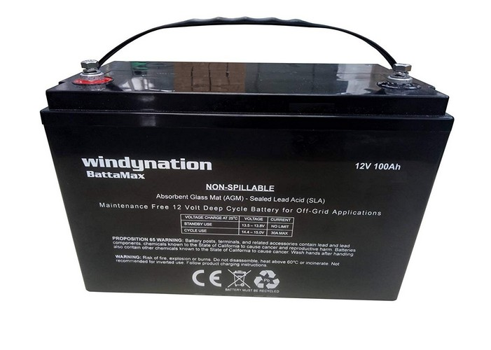 9. WindyNation 100 amp-hour 100AH 12V 12 Volt AGM Deep Cycle Sealed Lead Acid Battery - Solar RV UPS Off-Grid (1 pc 100 amp-hour)