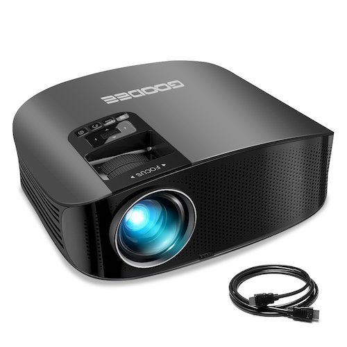 Best Projectors Under 200: 1. Projector, GooDee Video Projector 200 LCD Home Theater Projector Support 1080P HDMI VGA AV USB MicroSD for Home Entertainment, Party and Games