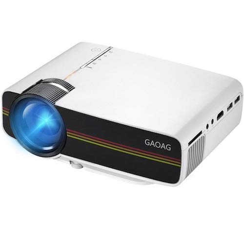 Best Projectors Under 200: 2. Portable Mini Video Projector+20% Lumens, Multimedia LCD Home Theater Projector with HDMI Cable, Support 1080P HDMI USB SD Card VGA AV TV Laptop Game iPhone iPad Android Smartphone