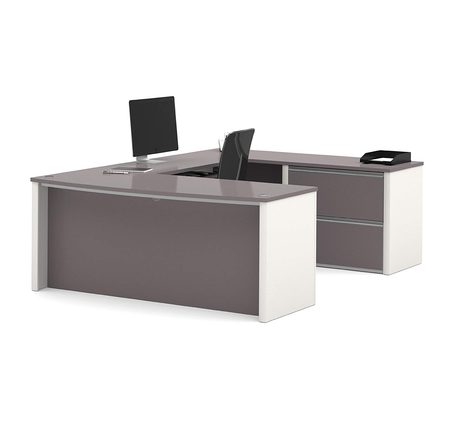 4. Bestar Connexion U-Shaped Workstation with Two Drawers, Slate/Sandstone