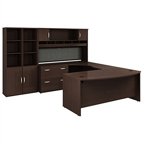 10. Bush Furniture Series C Mocha Cherry Executive U-Shaped Desk
