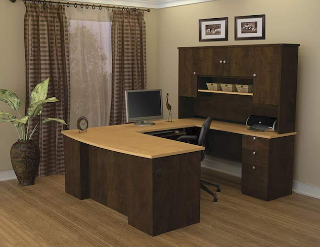 3. Bestar Manhattan U-shaped Workstation, Secret Maple/Chocolate