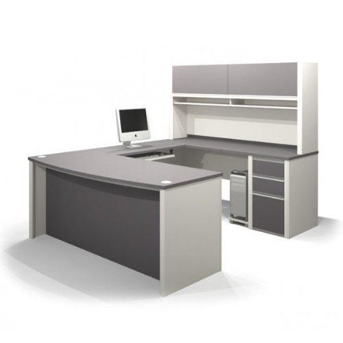 9. Bestar Connexion U-Shaped Workstation with 1 Assembled Pedestal in Sandstone