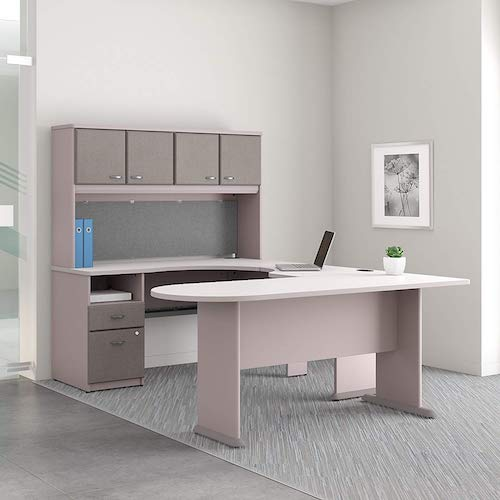 6. Bush Business Furniture Series A U Shaped Desk with Hutch, Peninsula and Storage