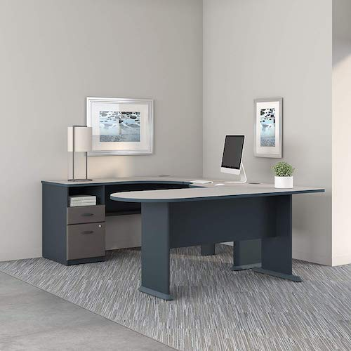 5. Bush Business Furniture Series A U Shaped Corner Desk with Peninsula and Storage