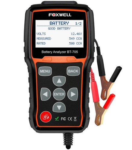 Best Automotive Battery Testers 4. FOXWELL Battery Tester BT705 Automotive 100-2000 CCA Battery Load Tester