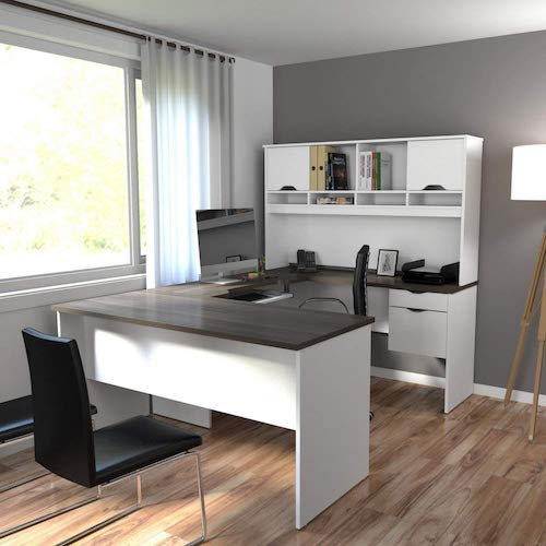 8. Bestar Innova U-Desk with Hutch in White and Antigua