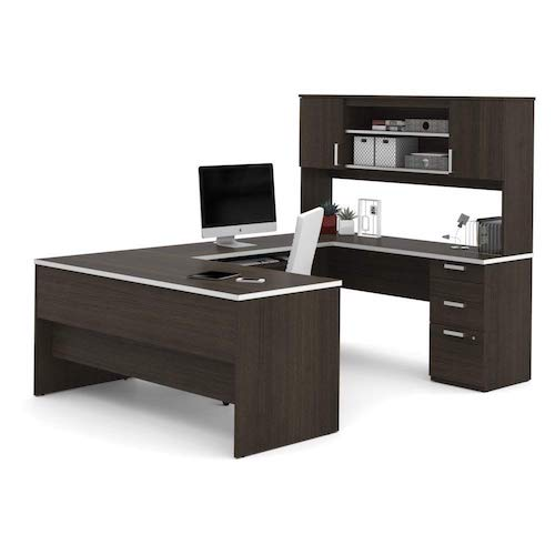 7. Bestar U-Shaped Desk in Dark Chocolate
