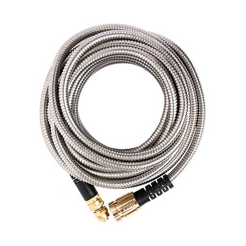 2. 50' Metal Garden Hose By QSP, Stainless Steel with Brass Sprayer