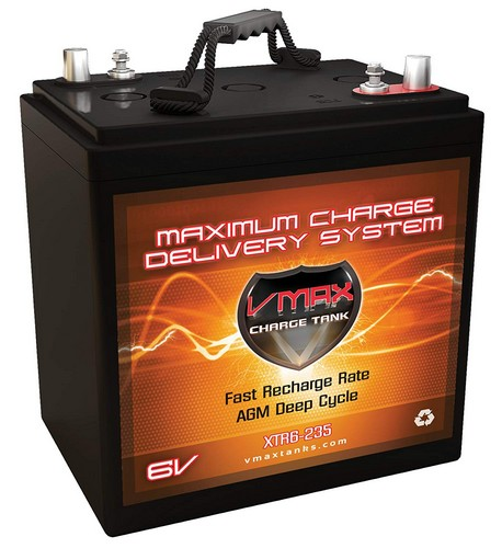 Best 6v Golf Cart Batteries 6. VMAX XTR6-235 6 Volt 235Ah Group GC2 AGM Deep Cycle Battery (Replaces/Upgrades Trojan T105 and T105-RE) Capacity: 235Ah; Energy: 1.62kWH; Reserve Capacity: 500min