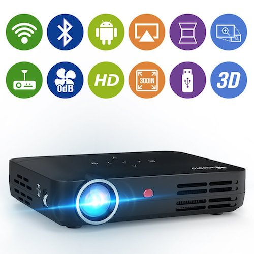 "9. WOWOTO H8 3000 lumens Mini Projector LED DLP 1280x800 Real Mini Home Theater Projector WXGA Support 3D 1080P HD Perfect For Entertainment Business Wireless Screen Share Android HDMI USBx2 RJ45 176""±"