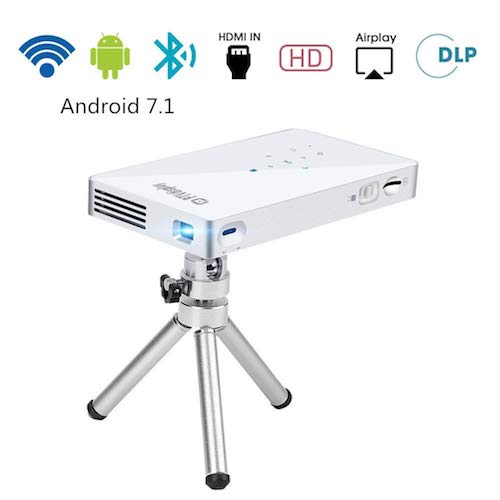 7. PTVDISPLAY Pico Pocket Mini Projector, 1080P WIFI Theater Smart Video DLP Projector Support Android 7.1 System Bluetooth HDMI USB TF Card for Home Cinema, Wireless Display for Iphone (Silver)
