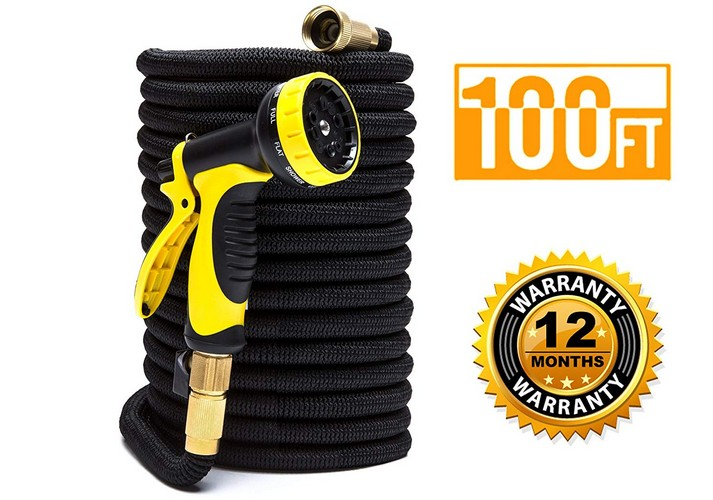 Best Expandable Garden Water Hoses 3. ExpaHose 100ft Expandable Garden Hose with 9-Pattern Sprayer Nozzle | Gardening and Outdoor Lawn Care Tools | Lightweight, Flexible, Kink-Free | 3/4 Brass Fittings | Leakproof Latex Core | Warranty