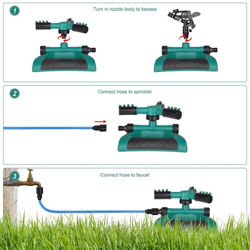 Best Lawn Sprinklers for Low Water Pressure 6. Lawn Sprinkler 2 Water Sprinklers Head For Lawns Garden Yard Outdoor Automatic 360 Rotating Sprinklers Lawn Irrigation System Oscillating Rotary High Impact Sprinkler System - Up 3600 sqft Coverage