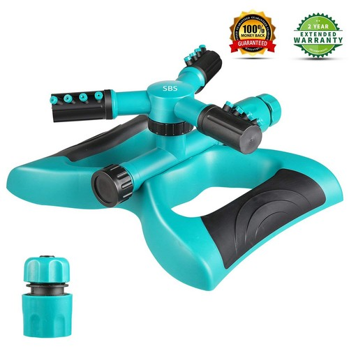Best Lawn Sprinklers for Low Water Pressure 3. Lawn Sprinkler, Automatic 360°Rotating Garden Sprinkler Heads Adjustable Garden Watering Sprinklers with 3600 SQ FT Coverage Lawn Irrigation System Leak-Free Design Durable 3 Arm Sprayer for Kids Play