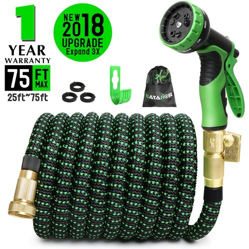 Best Expandable Garden Water Hoses 7. 75ft Expandable Garden Hose, Expanding Water Hose with 3/4 inch Strong Solid Brass Connector, 9 Function Expandable Hose Nozzle Flexible Expanding Lightweight Gardening Hose Outdoor Yard Hoses No-kink