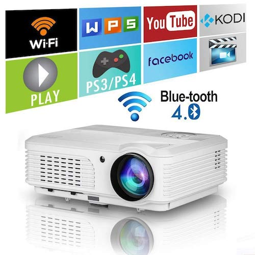 8. 2018 Updated Android 6.0 3600 Lumens HD Wireless Projector with Wifi Bluetooth HDMI Support 1080P Airplay LED Home Theatre Projector for TV Phones PC Laptop Tablet DVD Xbox PS4 Game Outdoor Movies