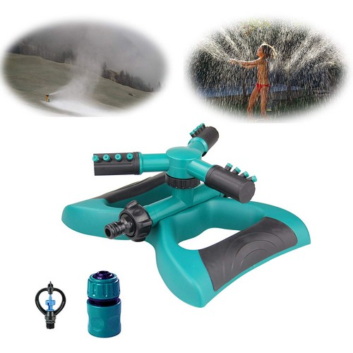Best Lawn Sprinklers for Low Water Pressure 4. HCNOCNB Lawn Sprinkler, Garden Sprinkler 360¡ã Automatic Rotating Adjustable Watering Sprinkler Lawn Irrigation System, With 3 Arms Sprayer, Cover Large Area, Easy Hose Connection.