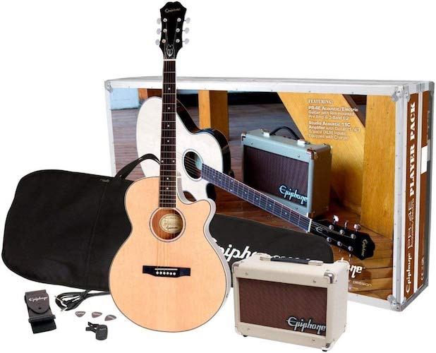 3. Epiphone PR-4E Acoustic/Electric Guitar Player Package