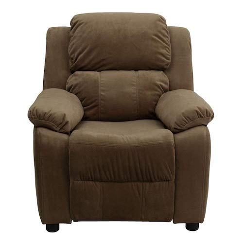4. Deluxe Heavily Padded Contemporary Brown Microfiber Kids Recliner with Storage Arms