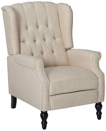 3. GDF Studio Elizabeth Light Beige Tufted Fabric Arm Chair Recliner