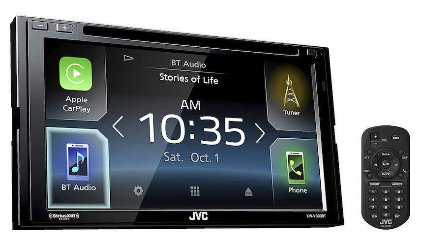 7. JVC KW-V830BT Double DIN Bluetooth In-Dash DVD/CD/AM/FM Car Stereo Receiver w/ 6.8