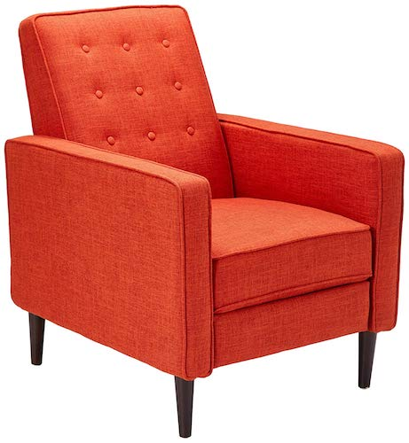 7. Macedonia Mid Century Modern Tufted Back Fabric Recliner (Muted Orange)