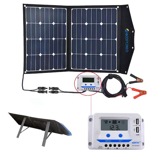 10. ACOPOWER 120W Portable Solar Panel, 12V Foldable Solar Charger