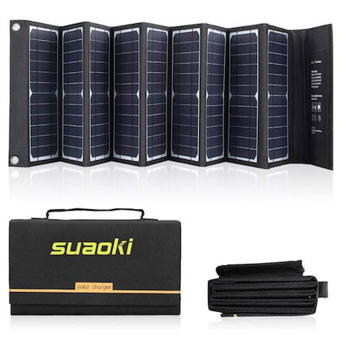 9. SUAOKI Solar Charger 60W Portable Solar Panel Foldable High Efficiency 5V USB 18V DC Dual Output Charger