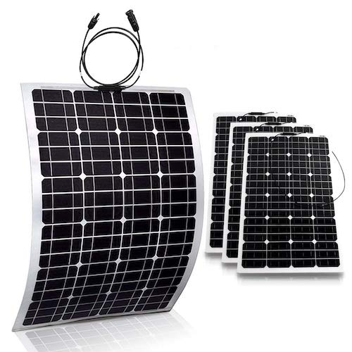 2. Genssi 4x 100W Mono Flexible Photovoltaic PV Solar Panel Module RV Boat Roof 400W Total